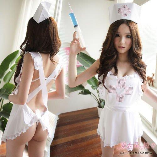 護士服 白色圍裙 情趣護士制服 性感護士圍兜兜+護士帽-愛衣朵拉C032