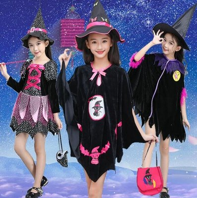 萬聖節服裝 兒童魔法女巫師表演服巫婆服裝鬥篷女童黑貓披風裝cosplay服裝—莎芭