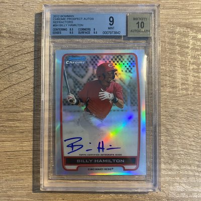 2012 BOWMAN CHROME PROSPECT AUTO Billy Hamiltom BGS9/10