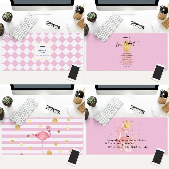 火烈鳥滑鼠墊超大號布墊可愛女生電腦鍵盤筆電辦公寫字台大桌墊