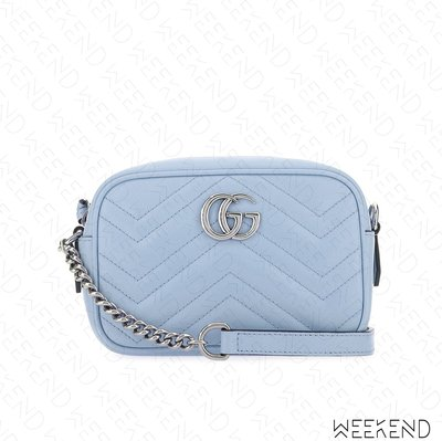 【WEEKEND】 GUCCI Mini GG Marmont 迷你 皮革 山形紋 肩背包 相機包 淺藍色 634936