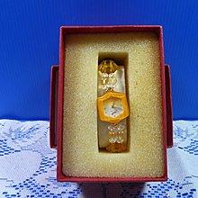 【水晶錶】全新絕版 鱷魚錶 (六邊橙框白面) 水晶錶帶手圍可調整 附盒 尺寸:9*3.5*2.5㎝ 重量:90g