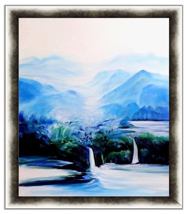 {藝術之都]手繪創作抽象油畫~聆聽~含內框可直接懸掛 (實品拍攝)