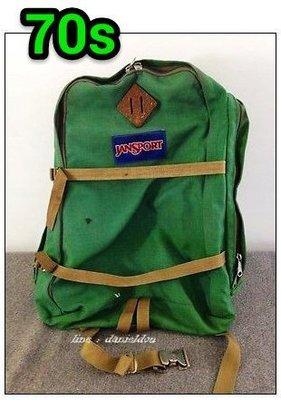【旅人 tai 】早期國外帶回~ 古著vintage JANSPORT 70年初代 綠色皮徽章攝影雙肩背包。檢  豬鼻包