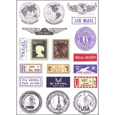 ROLALA【B155】PVC防水潮流貼紙-霧面世界郵件《買4送1》整版行李箱貼地球地圖郵票郵戳AIR MAIL旅行印章