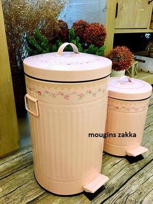 日本鄉村風夢幻玫瑰花垃圾桶  粉紅色垃圾桶 緩降式含蓋 12L 大