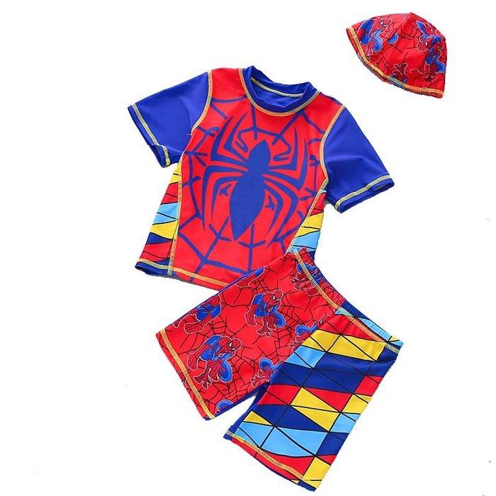 •*~ 辣媽咪衣飾小舖 ~*•❤泳裝系列 📣C550806韓版卡通蜘蛛人圖案分體防曬溫泉泳裝 (附泳帽)