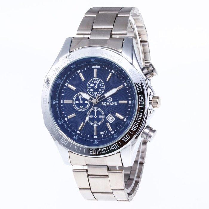 888利是鋪-新款時尚商務男士手表 休閑帶日歷鋼帶石英手表#手錶