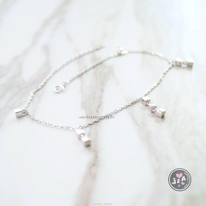 【Jia' s】垂吊立體小方塊純銀腳鍊S925。正生純銀