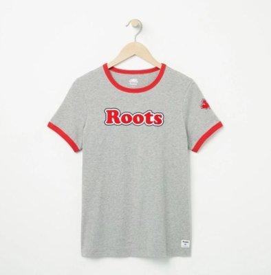 ~☆.•°莎莎~*~~☆~加拿大 ROOTS Womens Roots Ringer T-shirt 棉T~現貨M