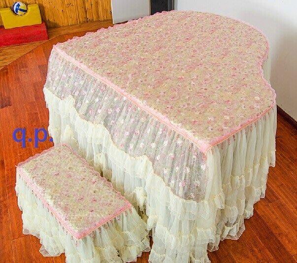 訂製Grand Piano鋼琴套+椅子罩凳子套 花朵植物圖騰 三角平台式鋼琴 蕾絲 浪漫網紗裙擺 公主風格 多層次防塵罩