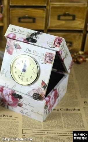 INPHIC-英倫田園帶鐘公主復古首飾盒 木質桌面收納小木盒子閨蜜禮物_S2787C