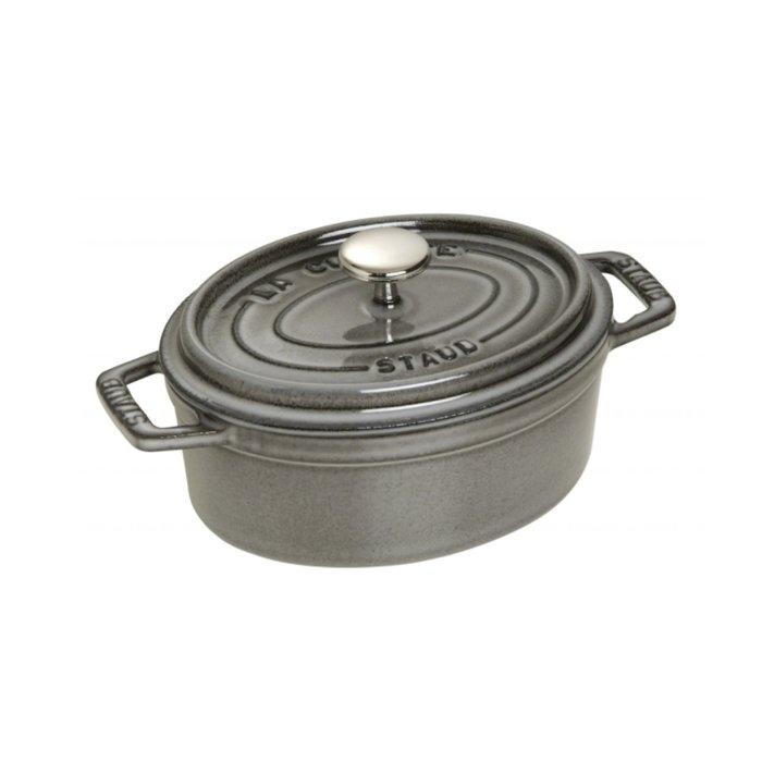 法國 Staub 15公分 橢圓鍋 鑄鐵鍋 石墨灰