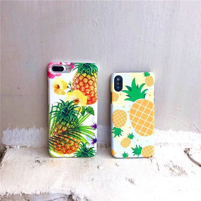 千夢貨鋪-蘋果X個性6splus手機殼水果小清新iPhone7plus半包磨砂硬殼6s女款