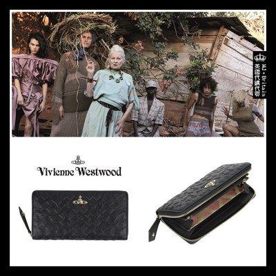 ♔MissyJ英國代購♥ Vivienne Westwood 英倫品牌酷黑色土星壓紋義大利牛皮革真皮拉鍊皮夾皮包女用長夾