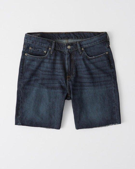 Maple麋鹿小舖 Abercrombie&Fitch * AF 藍色不修邊牛仔短褲 * ( 現貨26號 )