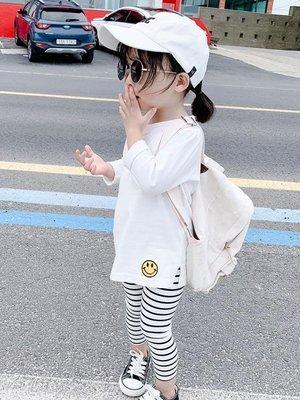 2019女童裝秋裝新款笑臉中長款韓版兒童純棉長袖T恤 女寶寶打底衫