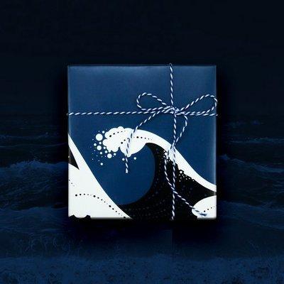 日本風設計生日禮物包裝紙禮品紙包花紙神奈川海浪(三張)_☆優購好SoGood☆