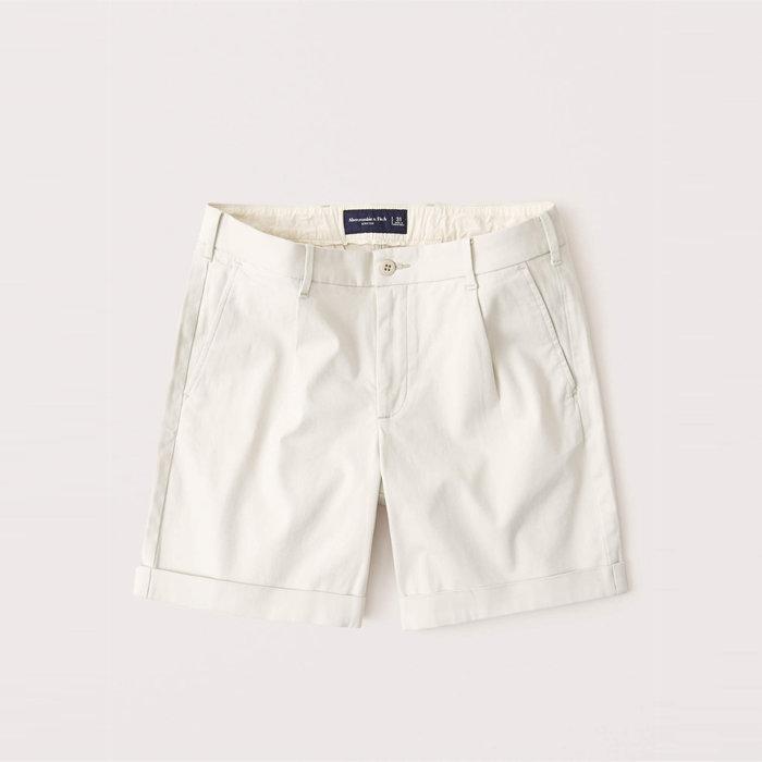 【Abercrombie&Fitch】【A&F】AF男款休閒短褲短版米白 F02200915-05