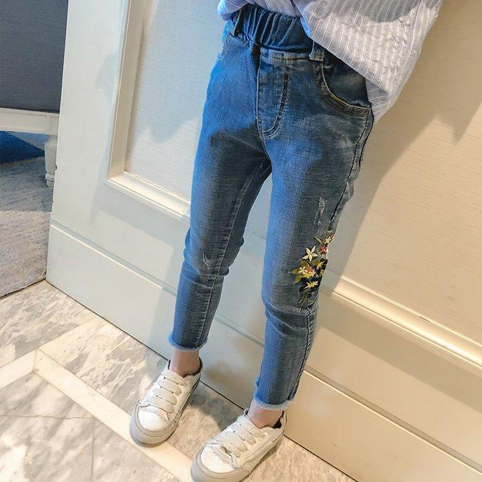 ~Linda~女童牛仔褲2018春裝女童休閒褲中大童褲子兒童長褲女寶寶鉛筆褲