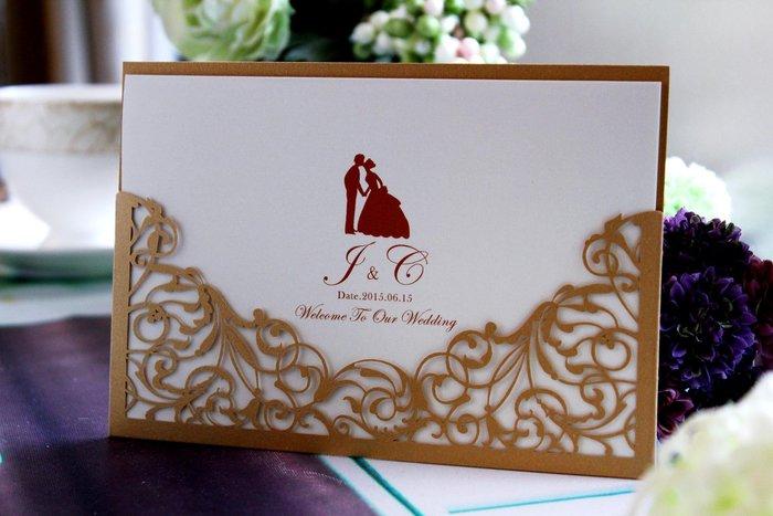 『潘朵菈精緻婚卡』影像設計喜帖 ♥ 鏤空刻花18元喜帖系列 ♥ 喜帖編號:W-9086‧米金