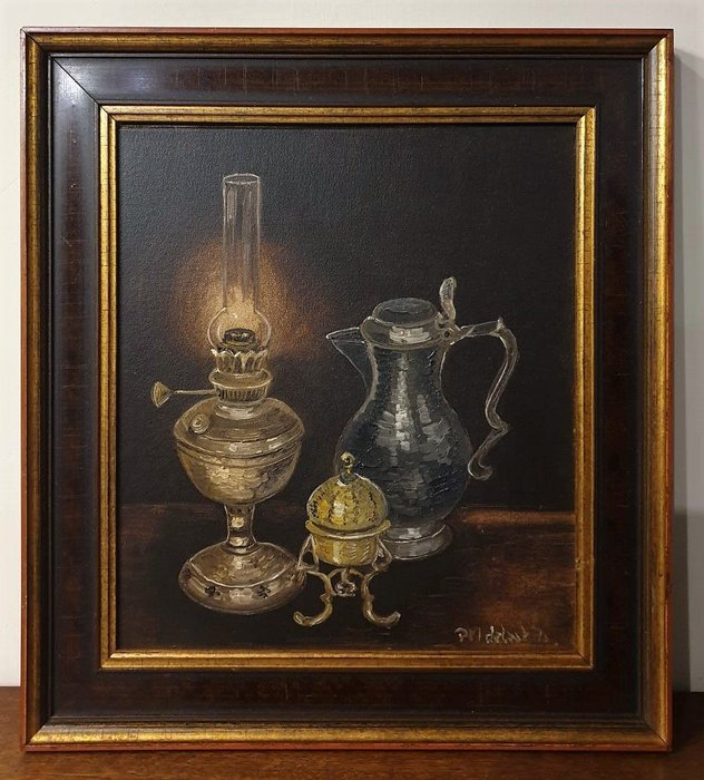 【卡卡頌 歐洲古董】🍂荷蘭老件 全手繪  油燈  錫壺  銅器  靜物  木框  簽名  老油畫   pa0335 ✬