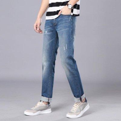男牛仔褲直筒男裝直筒長褲子簡約彈力修身中腰水洗t841