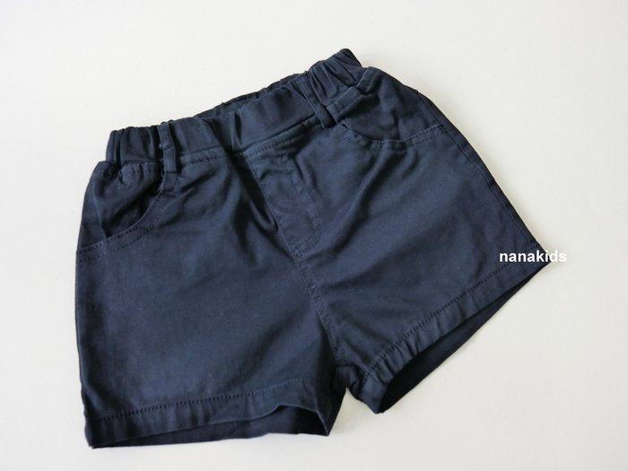 出清夏日款。女童裝。韓版素面百搭短褲 (深藍) 現貨~nanakids娜娜童櫥