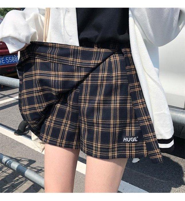 女褲裙新款短裙寬松格子高腰裙褲假兩件半身裙韓版a字裙 芊芊思語 (可開立發票)