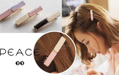 【PEACE33】正韓國空運進口。髮飾飾品 雙色搭配 橫長水晶水鑽鴨嘴夾/髮夾/邊夾。現貨優惠