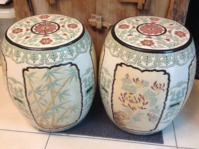 【黑狗兄】陶瓷四君子梅蘭竹菊鼓凳陶瓷椅一對----B01