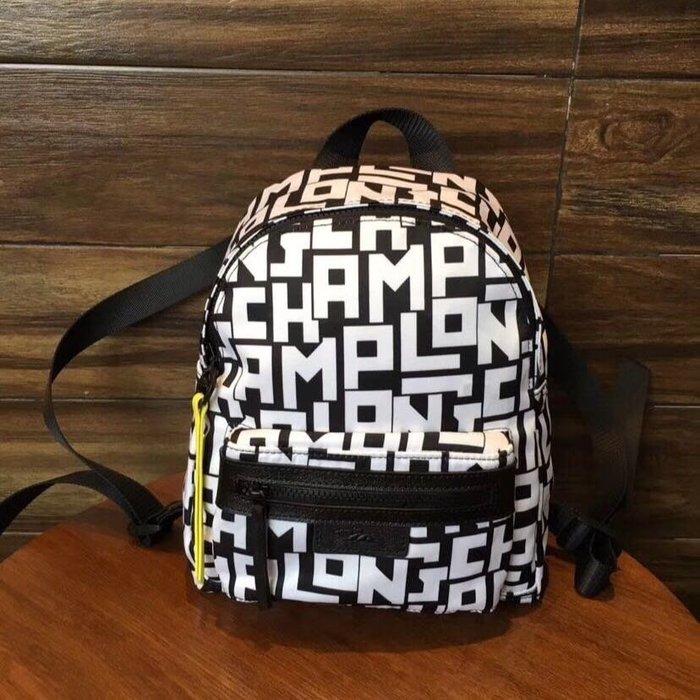 新款 白色 LONGCHAMP LGP 字母 1118雙肩包後背包 旅行包 拉鍊背包 輕便 防水 加厚尼龍拼接皮革 耐用 旅遊 小號 限量優惠