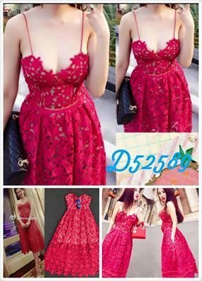 [ ohya梨花 ] =韓國帶回=最新春夏新款性感名媛紅色縷空蕾絲細肩帶長洋裝連身裙