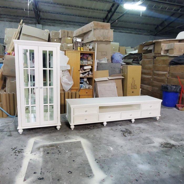 美生活館 家具訂製 客製化 全紐松 百合白 L型高低櫃 電視櫃 TV 櫃 雙門玻璃收納櫃 也可訂製修改尺寸顏色再報價