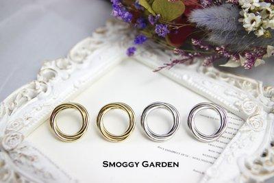 【Smoggy Garden】韓 經典歐美風格簍空鏤空幾何圓形三環三圈多層次圓環交錯環繞圓圈圈耳環 鋼針 金/銀