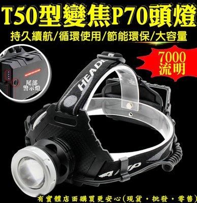 27132-137-興雲網購【T50型變焦P70頭燈+USB線單賣】7000流明強光魚眼 手電筒 工作燈