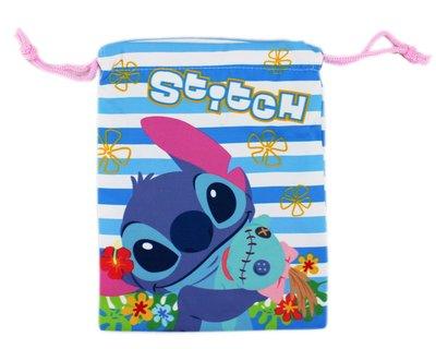 【卡漫迷】 史迪奇 束口袋 藍白紋布 ㊣版 雜物 收納袋 小提包 萬用包 相機 Stitch 星際寶貝 充電組 化妝包
