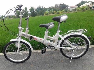 戴英俊-20吋SHIMANO六段速親子互動折疊腳踏車206S親子車紅色/白色【前後V型剎車】