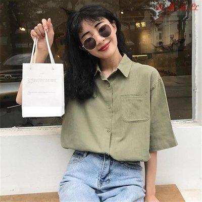 休閒寬鬆復古棉麻短袖襯衫