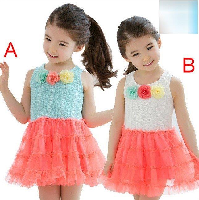 韓版《三色花朵款》甜美背心裙 洋裝 (J2-3)