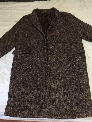 SLOWER男性黑灰色長大衣外套 冬天單排釦長大衣 韓國鋪棉大衣 結緣價 斷捨離 新北市