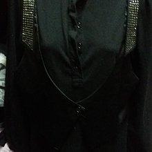 黑色假二件式長袖長版上衣