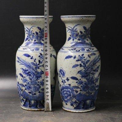 姥姥的寶藏㊣  清 晚清青花花鳥瓶 古瓷器 古董古玩 舊貨老貨