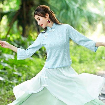 原創 春夏新款女裝復古民國風改良盤扣旗袍上衣印花古裝喇叭袖 雪紡上衣 旗袍  襯衫 正韓 民族風