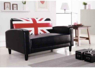 ~FB182~1~ 英倫黑皮雙人沙發 #M026