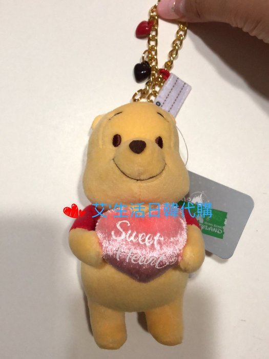 代購現貨 香港迪士尼樂園商品 愛心維尼娃娃吊飾