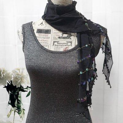 ANNA SUI 黑色神祕閃耀紗巾 圍巾 領巾 正品