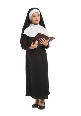 乂世界派對乂萬聖節服裝,萬聖節服飾,變裝派對,兒童變裝服 /兒童修女服裝/純潔小修女