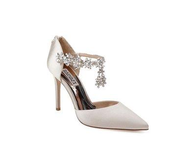 【海洋之心二館】Badgley Mischka 羊皮真絲鞋面高跟鞋 婚鞋((2款))