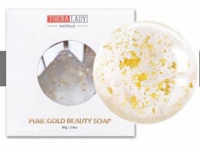 [現貨在台不必等]Thera Lady 24k黃金香皂 除蟎神仙皂  潔面球 潔面皂 金箔皂80g澳洲原裝進口正品
